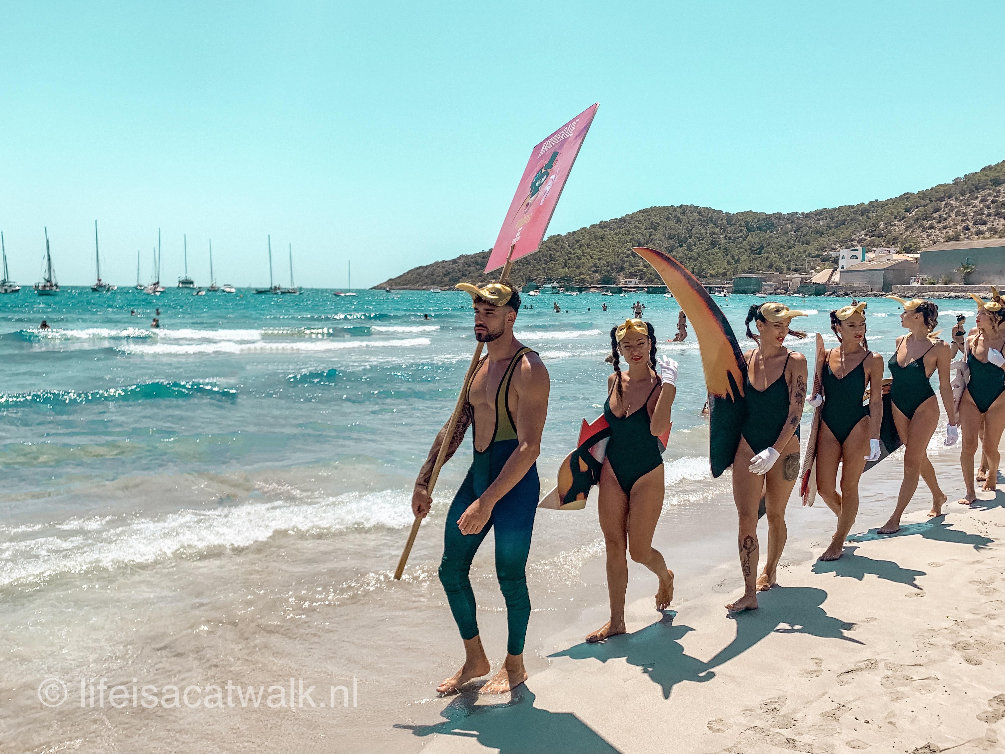 Pacha girls on the Salinas Beach Ibiza